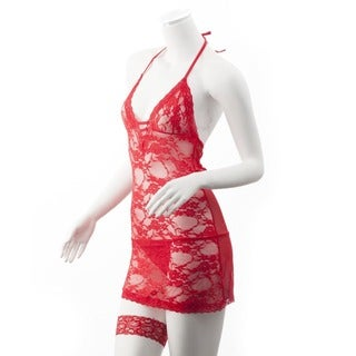 Zodaca Women's Red Sexy Lace Dress Underwear Lingerie Set with G String and Eye Mask