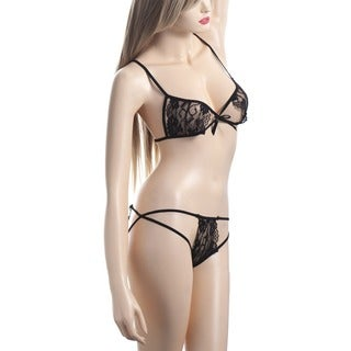 Zodaca Women's Black Sexy Lace Bust Lingerie Underwear with G String