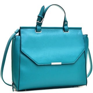 Dasein Faux Leather Briefcase Satchel with Expandable Zipper Sides