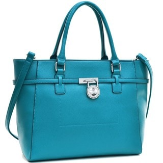 Dasein Faux Leather Padlock Belted Medium Tote Bag
