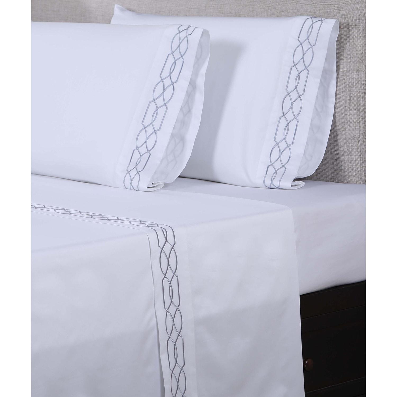 Affluence 600 Thread Count Lattice Embroidered Pillowcase