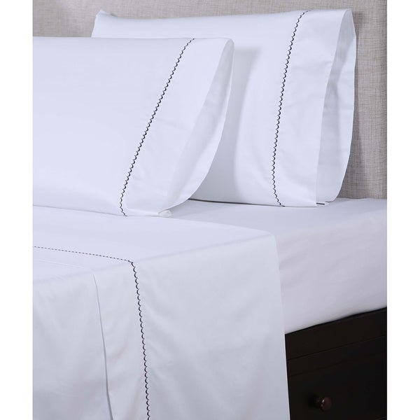 affluence 600 thread count scalloped embroidered sheet set