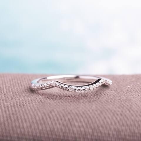 Miadora Sterling Silver Diamond Accent Contour Wedding Band