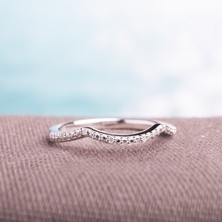 Miadora Sterling Silver Diamond Accent Contour Wedding Band