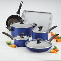 Farberware Dishwasher Safe Nonstick Aluminum 15-Piece Cookware Set, Blue