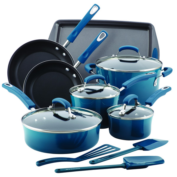 Rachael Ray Hard Enamel Nonstick 14-Piece Cookware Set, Marine Blue. Opens flyout.