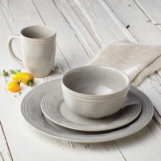 Rachael Ray(r) Cucina Dinnerware 16-Piece Stoneware Dinnerware Set, Sea Salt Grey