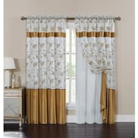 Laurel Creek Brock Embroidered Curtain Panel with Attached Valance and Backing