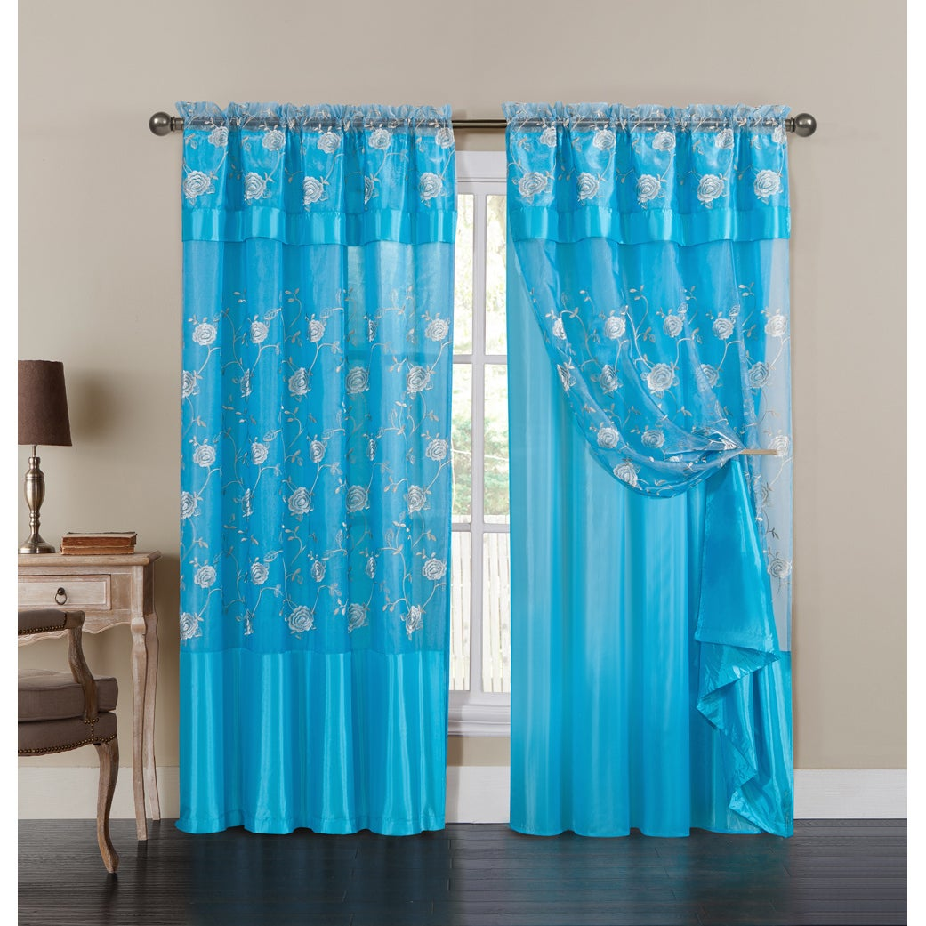 VCNY Venice Embroidered Curtain Panel with Attached Valan...
