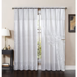 VCNY Lucy Embroidered Curtain Panel with Attached Valance and Backing