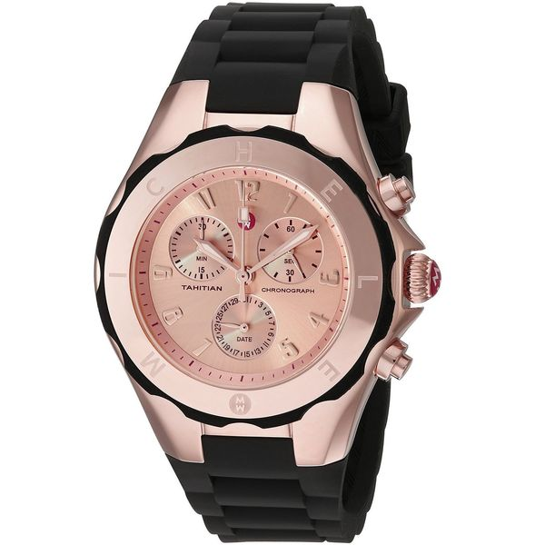 2afe64f6c Shop Michele Women's MWW12F000035 'Tahitian Jelly Bean' Chronograph Black  Silicone Watch - Free Shipping Today - Overstock - 11169821