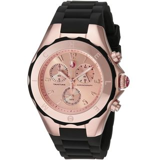 Michele Women's MWW12F000035 'Tahitian Jelly Bean' Chronograph Black Silicone Watch