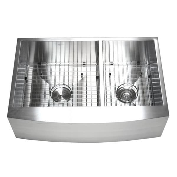 33 Inch Apron Front Sink : 33-inch Double Bowl 60/40 Zero Radius Stainless Steel Curved Front ...