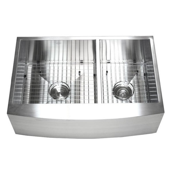 33-inch Double Bowl 60/40 Zero Radius Stainless Steel Curved Front ...