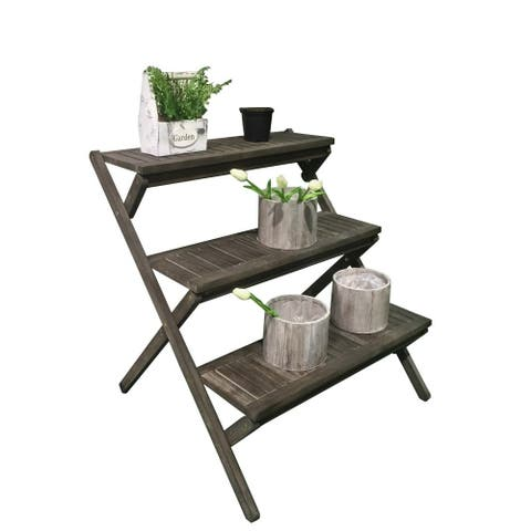 Havenside Home Surfside Eco-friendly Hand-scraped Hardwood Three-Layer Garden Planter Stand