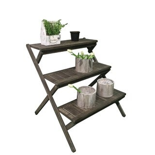 Renaissance Eco-friendly Hand-scraped Hardwood Three-Layer Garden Planter Stand