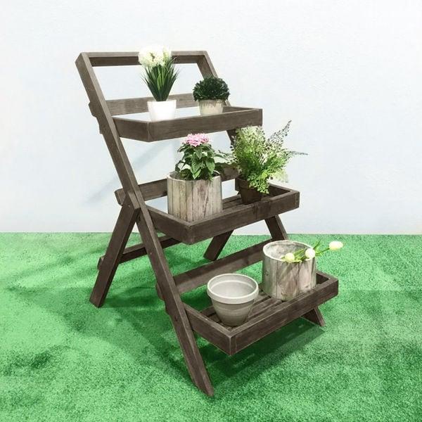 1fcaee20ccb6 Renaissance Eco-friendly Hand-scraped Hardwood Three-Layer Garden Planter  Stand