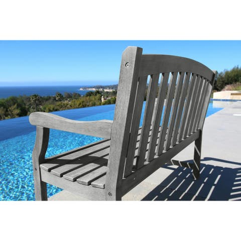 Surfside 2-Seater Hand-scraped Hardwood Garden Bench by Havenside Home
