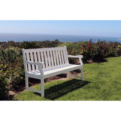 Surfside Eco-friendly 5-foot Outdoor White Wood Garden Bench by Havenside Home