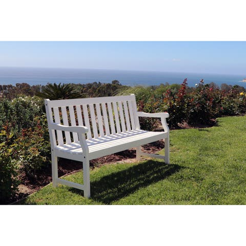Havenside Home Surfside Eco-friendly 5-foot Outdoor White Wood Garden Bench