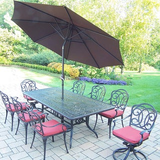 Sunbrella Aluminum 11 Pc Dining Set with Table, 6 Chairs, 2 swivel Rockers, Polyester Cushions, 9-ft Umbrella, and Stand