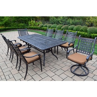 Sunbrella Aluminum 9 Pc Patio Dining Set with Table, 6 Stackable Chairs, 2 swivel Rockers with Sunbrella fabric Cushions