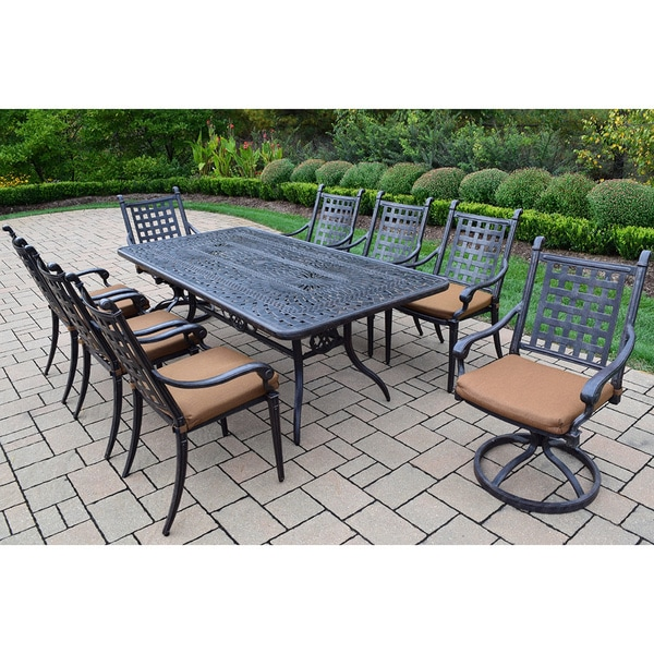 9 Pc Dining Set with Table, 6 Chairs, 2 swivel Rockers and Cushions