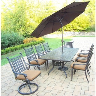 Sunbrella Aluminum 11 Pc Dining Set with Table, 6 Stackable Chairs, 2 Swivel Rockers, with Cushions, Umbrella, and Stand