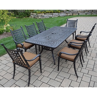 Sunbrella Cast Aluminum 9-piece Dining Set, with Rectangular Table, 8 Stackable Chairs, with Mildew Resistant Sunbrella Cushions