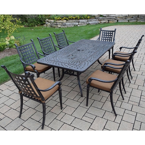 sunbrella cast aluminum 9piece dining set with rectangular table 8 stackable chairs
