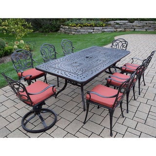Dining Set has Rectangular Table, 6 Chairs, 2 Swivel Rockers, Cushions