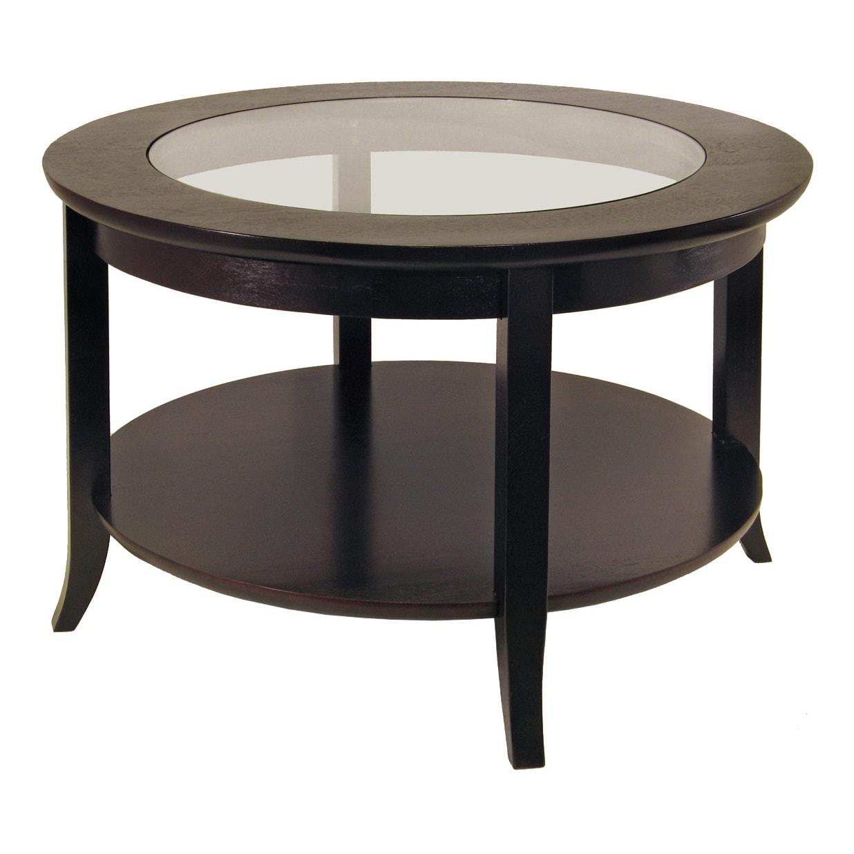 Genoa Coffee Table, Glass inset and shelf (Dark Espresso)...
