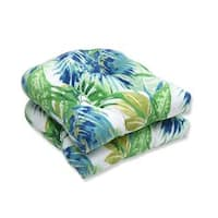 Pillow Perfect Outdoor/ Indoor Soleil Blue/Green Wicker Seat Cushion (Set of 2)