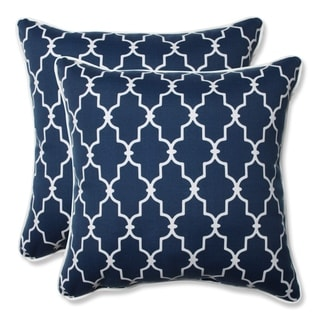 Pillow Perfect Outdoor/ Indoor Garden Gate Navy 18.5-inch Throw Pillow (Set of 2)
