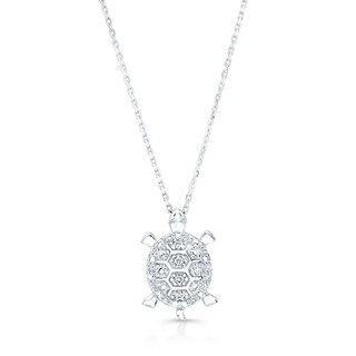 14k White Gold Diamond Accent Turtle Pendant (H-I, VS1-VS2)