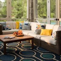 Pillow Perfect Outdoor/ Indoor Lotus Lake Cobalt Rectangular Throw Pillow (Set of 2)