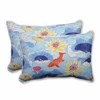 Pillow Perfect Outdoor/ Indoor Lotus Lake Cobalt Over-sized Rectangular Throw Pillow (Set of 2)