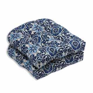 Pillow Perfect Outdoor/ Indoor Woodblock Prism Blue Wicker Seat Cushion (Set of 2)