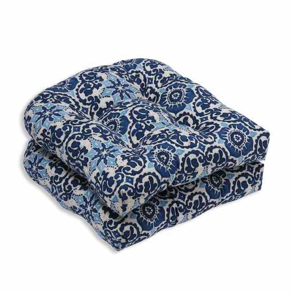 shop pillow perfect outdoor indoor woodblock prism blue wicker seat cushion set of 2 free. Black Bedroom Furniture Sets. Home Design Ideas