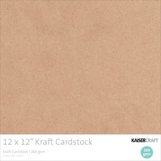 Kaisercraft 260gsm Cardstock 12inX12in 20/Pkg Kraft