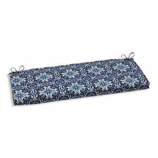 Pillow Perfect Outdoor/ Indoor Woodblock Prism Blue Bench Cushion