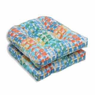 Pillow Perfect Outdoor/ Indoor Quibble Sunsplash Wicker Seat Cushion (Set of 2)