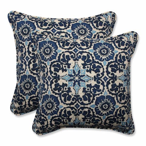 "Pillow Perfect Outdoor/ Indoor Woodblock Prism Blue 18.5-inch Throw Pillow (Set of 2) - 18.5"" x 18.5"" x 5"""