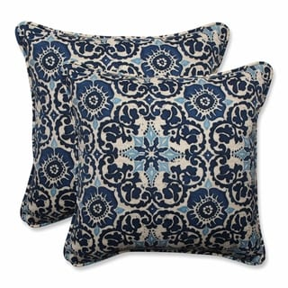 Pillow Perfect Outdoor/ Indoor Woodblock Prism Blue 18.5-inch Throw Pillow (Set of 2)