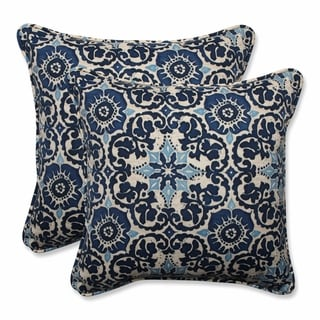 """Pillow Perfect Outdoor/ Indoor Woodblock Prism Blue 18.5-inch Throw Pillow (Set of 2) - 18.5"""" x 18.5"""" x 5"""""""