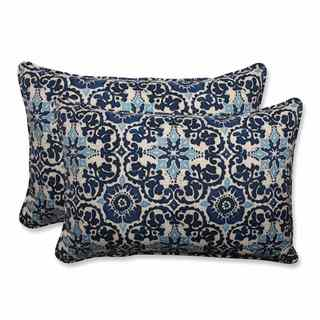 Pillow Perfect Outdoor/ Indoor Woodblock Prism Blue Over-sized Rectangular Throw Pillow (Set of 2)