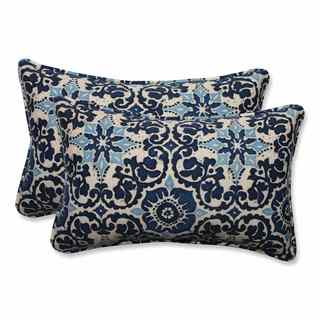 Pillow Perfect Woodblock Prism Blue Outdoor/ Indoor Rectangular Throw Pillows (Set of 2)