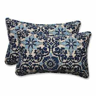 Pillow Perfect Outdoor/ Indoor Woodblock Prism Blue Rectangular Throw Pillow (Set of 2)
