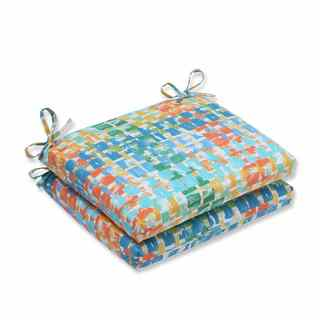 Pillow Perfect Outdoor/ Indoor Quibble Sunsplash Squared Corners Seat Cushion (Set of 2)