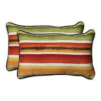 Pillow Perfect Outdoor/ Indoor Dina Noir Rectangular Throw Pillow (Set of 2)